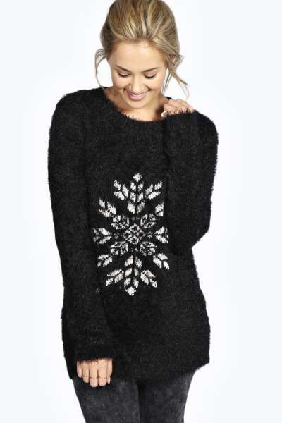 Sarah Fluffy Snowflake Jumper at boohoo.com