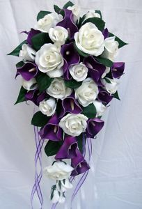 White roses and purple calla lilies Wedding bouquet  www.tablescapesbydesign.com https://www.facebook.com/pages/Tablescapes-By-Design/129811416695