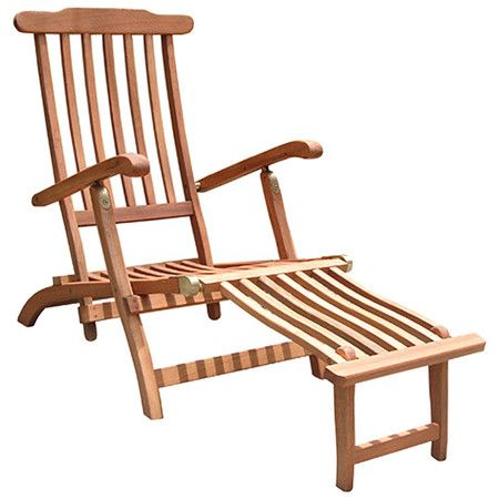 """Steamer Lounge Chair $116.95 Steam ship-style lounge chair made from eucalyptus.  •Construction Material: FSC eucalyptus hardwood •Color: Brown •Dimensions: 36"""" H x 22"""" W x 54"""" D"""