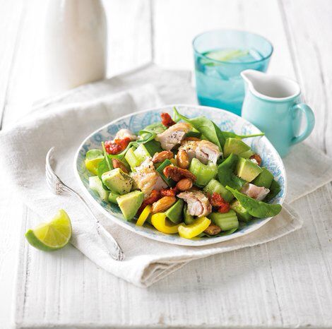 Ingredients (serves 2): 2 handfuls baby English spinach leaves, ½ yellow capsicum, 50g activated sea salt & vinegar almonds, 2 celery stalks, 40g sun-dried tomatoes, 1 Lebanese (short) cucumber, 1 avocado, 200g oven-roasted chicken. Lime dressing: 1 tbsp apple cider vinegar, 1 tbsp lime juice, 1 tsp zest of lime, 1 garlic clove, 2 tbsp virgin olive oil. Preparation: Put spinach, capsicum, almonds, celery, sun-dried tomatoes, cucumber and avocado in a bowl. Toss together gently. To make the…