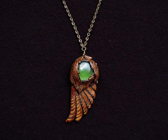 Aves ala collar polímero Arcilla verde vidrio cabujón hoja marrón plumas esculpidas Animal bosque espíritu colgante Hippie naturaleza pagana joyería