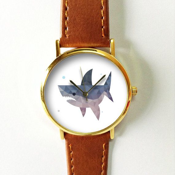 Geometric Shark Watch   Vintage Style Leather Watch by FreeForme