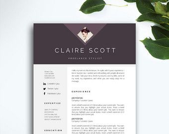 resume template 3 page cv template cover by fortunelleresumes - Vintage Resume Template