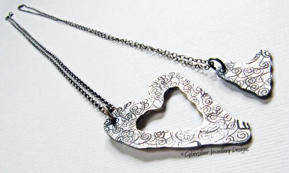 Sterling silver mother and daughter hearts by CybersilverJewellery