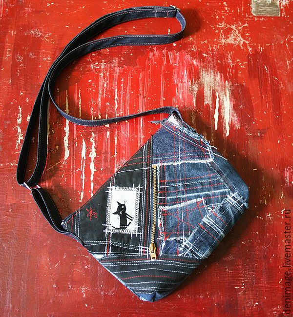 """Купить Джинсовая сумка """"Летняя"""" - джинсовая сумка, сумочка через плечо, сумка с котом"""