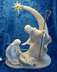 "12"" Porcelain Holy Family Nativity w/Shooting Star"