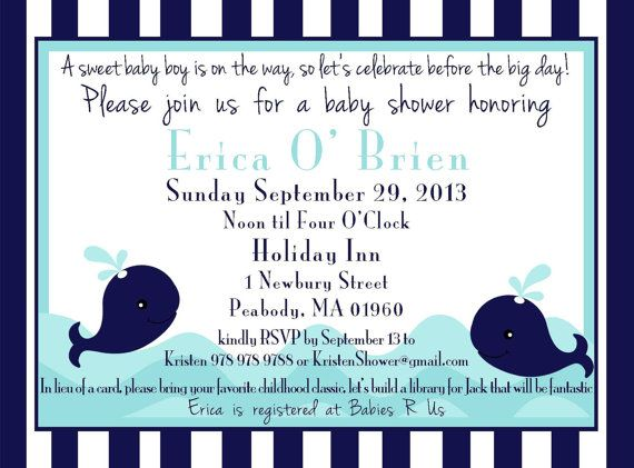 Whale theme invite size 5x7 DIGITAL FILE by GoToGirlSignDesigns, $15.00
