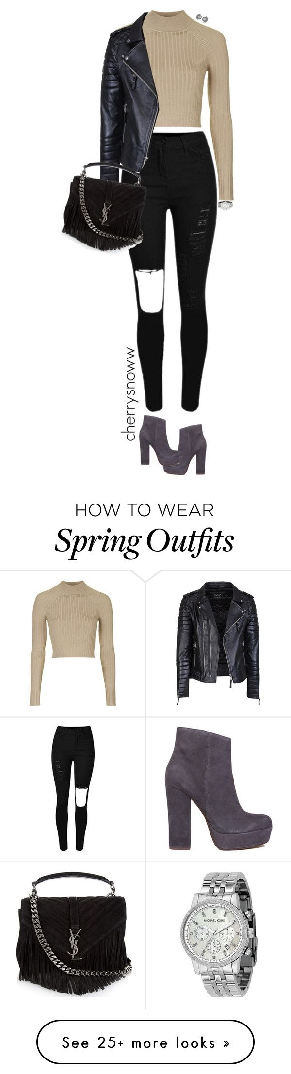 """Edgy casual chic fall/spring outfit"" by cherrysnoww on Polyvore featuring Topshop, Steve Madden, Yves Saint Laurent and Michael Kors"
