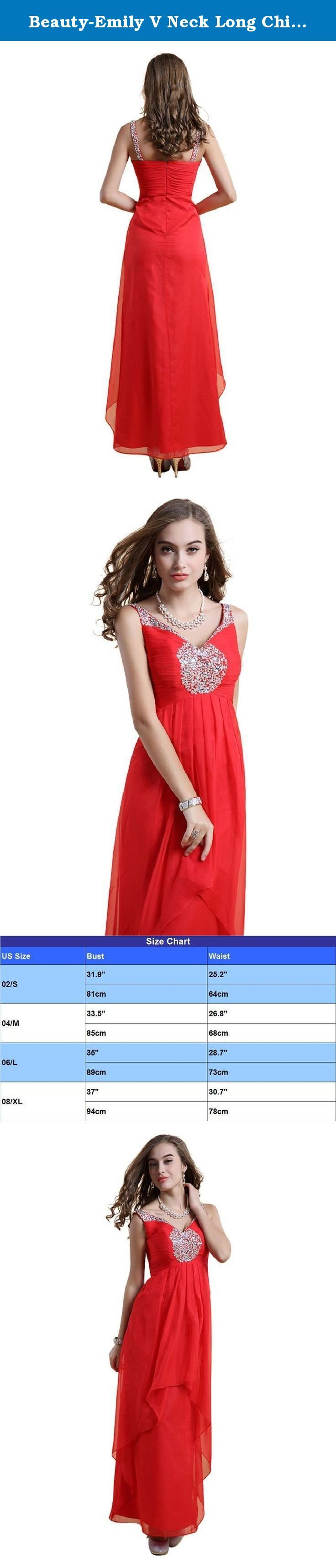 Beauty-Emily V Neck Long Chiffon Evening Dresses Bridesmaid Party Prom Gowns Color Red,Size L. We are specialized in dress. Including evening,cocktail,party,summer and other dress.The item description is as follow: High collar,cap sleeve degisn.Embroidery and sequins decorated.Great lace fabric.Slim,bodycon style.Fit for cocktail,evening,party ball occasion. All dresses are made manually by top sailor. Any unsactisfaction please contact us, 30 days return is available. Size Chart is…
