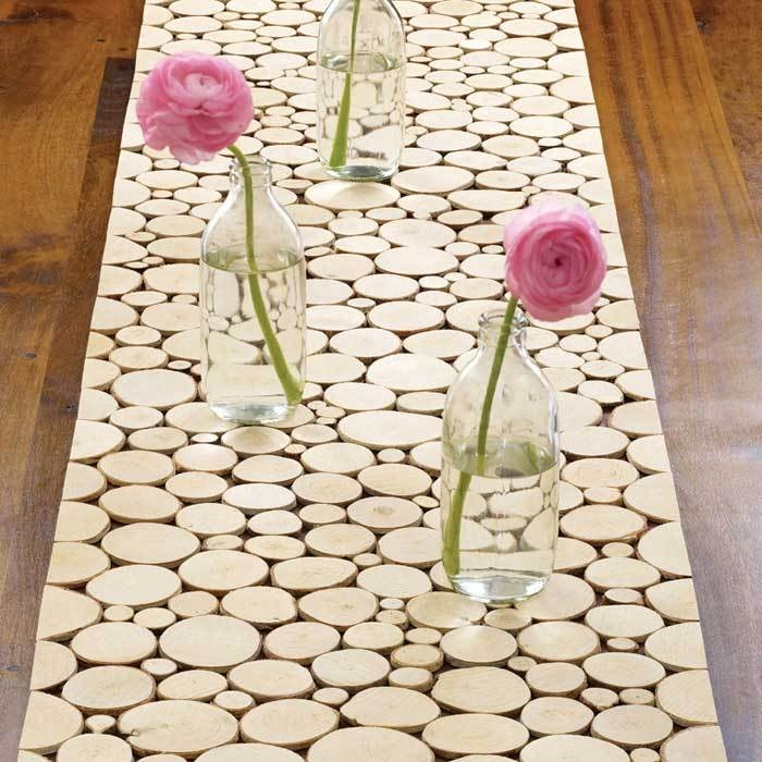 Birch Wood Slice Table Runner, But I Want It As My Kitchen Floor~~
