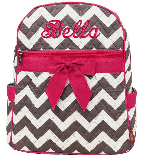 Personalized Backpack Chevron Gray Hot Pink Bookbag Quilted Monogrammed on Etsy, $33.99