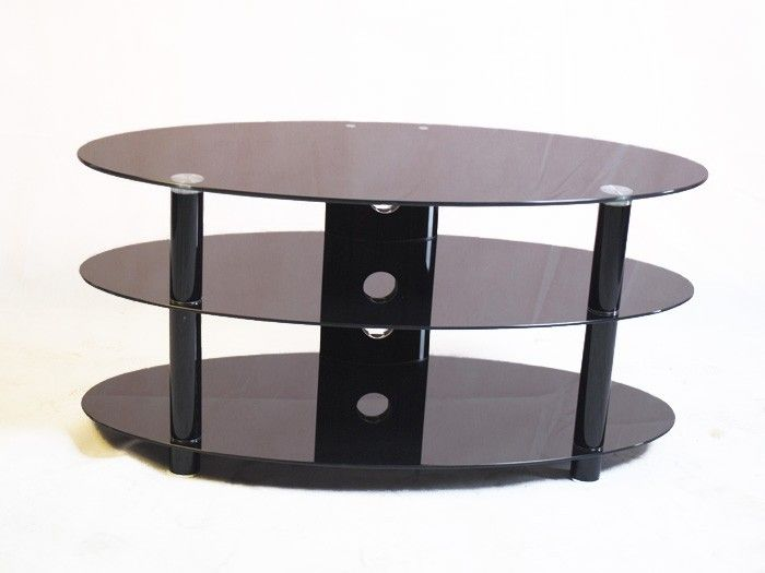 """Kango 1000 Black Glass TV Stand up to 42"""" TVs by Iconic.   The Iconic Kango 1000 is an elegant oval shaped black glass TV stand that is suitable for LCD, LED & Plasma TVs that are up to 42"""" wide, this black glass TV Stand has three shelves to support all your DVD, TV and gaming equipment.  Dimensions: 1000mm(w), 450mm(d), 480mm(h)."""