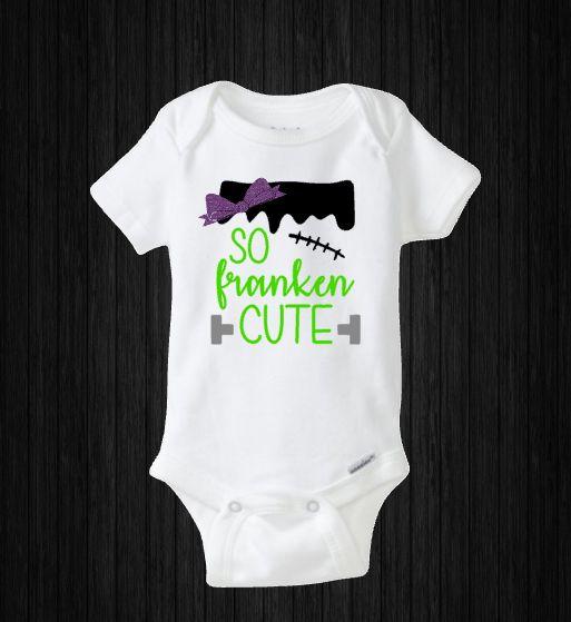 Baby Girl Halloween Onesie, So Franken Cute, Baby's First Halloween, Monster Costume, Baby Shower