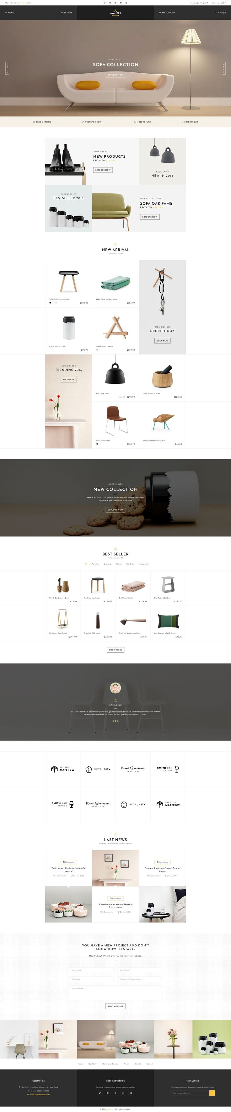 Avante is a form of modern and PSD is designed for #furniture #interiordesign stores. With a simple design style, clean very easy for the user. It's easy to customize this template for your purposes. #psdtemplate