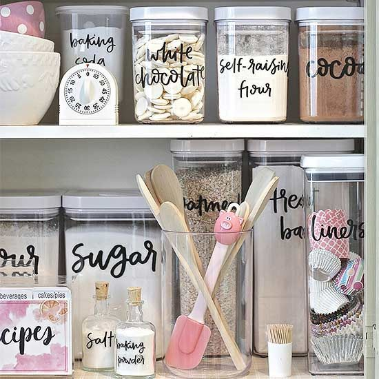 Streamline pantry organization with these stylish (and cute!) storage container labels hand-picked by @theexchange. Your kitchen cabinets and pantry will never look cluttered again!