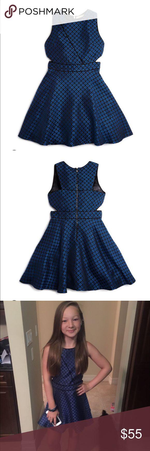 Miss Behave Girls Size L Blue And Black Dress
