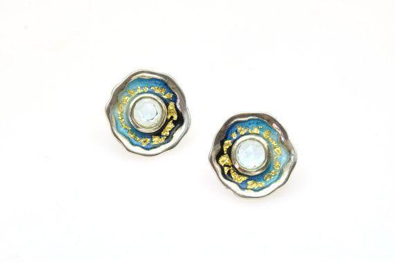 #December #Birthstone, #Topaz #Gemstone,Stud #Earrings,Sterling Silver Earrings,Blue Enamel Earrings,Chic Earrings, #Giampouras €112.00