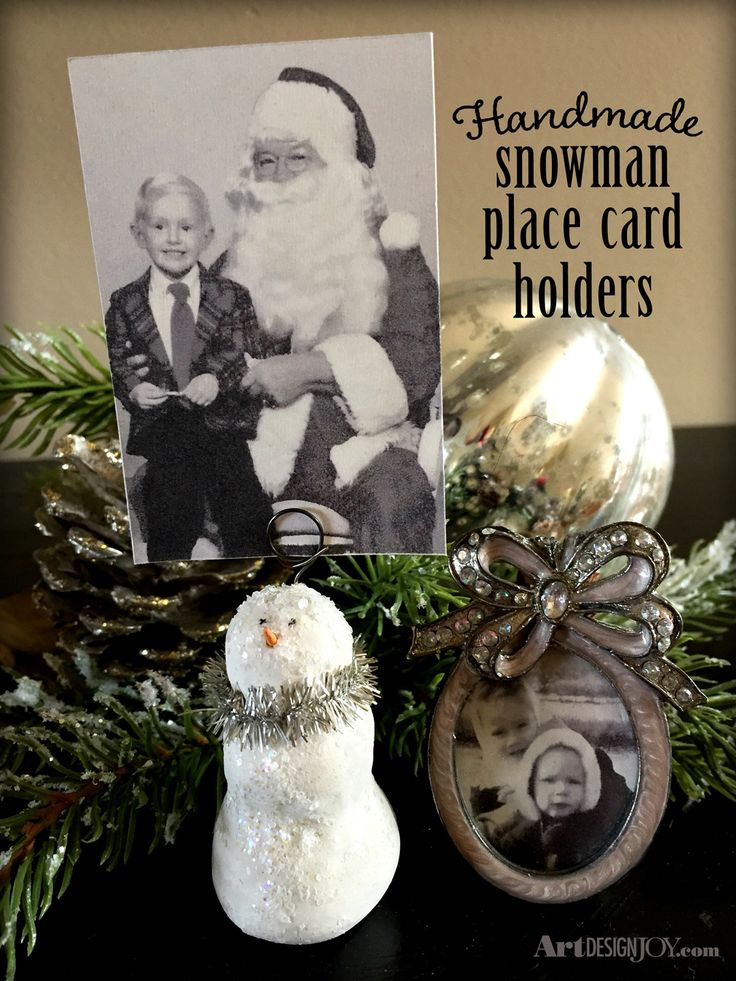 add holiday joy to your table with these simple to make snowman place card holders also great for displaying photos and recipe cards