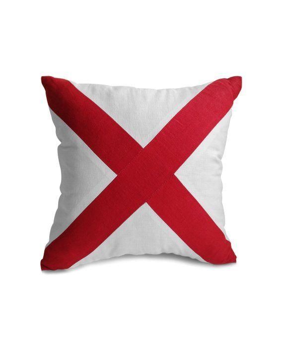 Cross Pillow Cover, Red White Pillow, Nautical, Yacht Decor, Linen Pillowcase, Beach Home, Housewarming Anniversary Birthday Gift Present