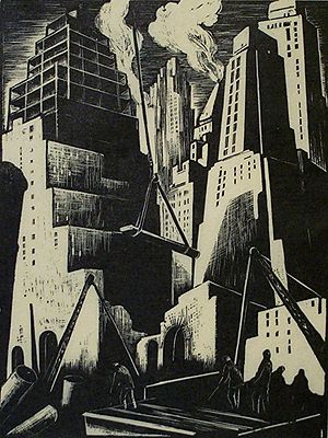Clare Leighton (1898-1989) Skyscrapers, 1929. Wood engraving. Boston Public Library