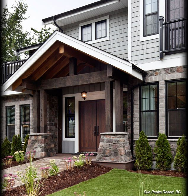 Exterior Siding Design: Like The Nice Dark Paints With White And Black Trims. Also