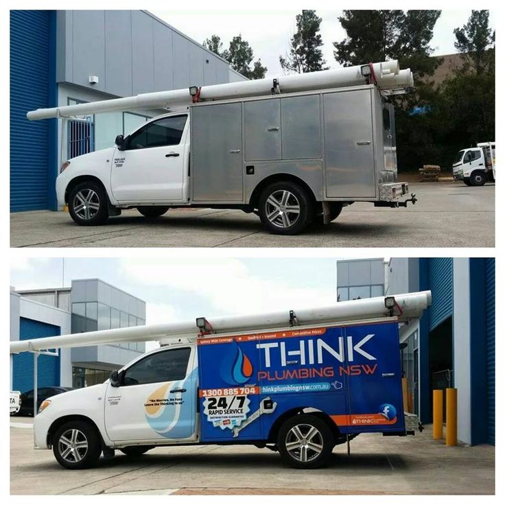 Cunneen Signs- Think Plumbing Before and After vehicle signage. Vehicle wrap