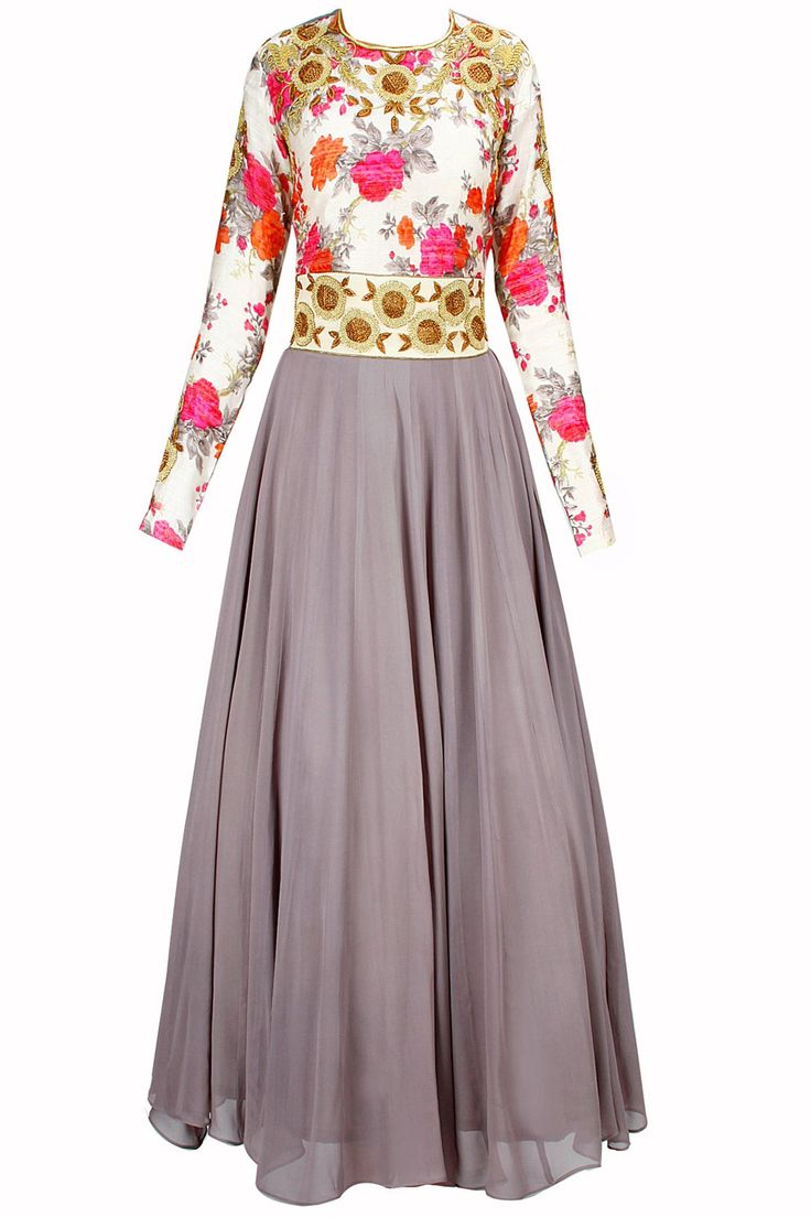 Bhumika Sharma 28,000 Floral+grey looks fantastic. Would just remove the beige and brown embroidery sections.