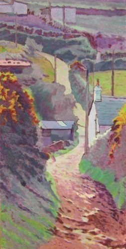 Tom Henderson Smith, Cornish Lane in spring 120 (H) × 60 (W) cms on ArtStack #tom-henderson-smith #art