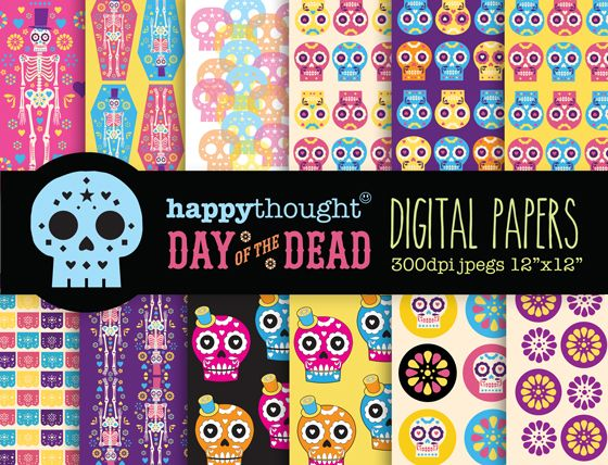 12 Dia de los Muertos digital scrapbooking papers. Ideas for the upcoming Day of the Dead.