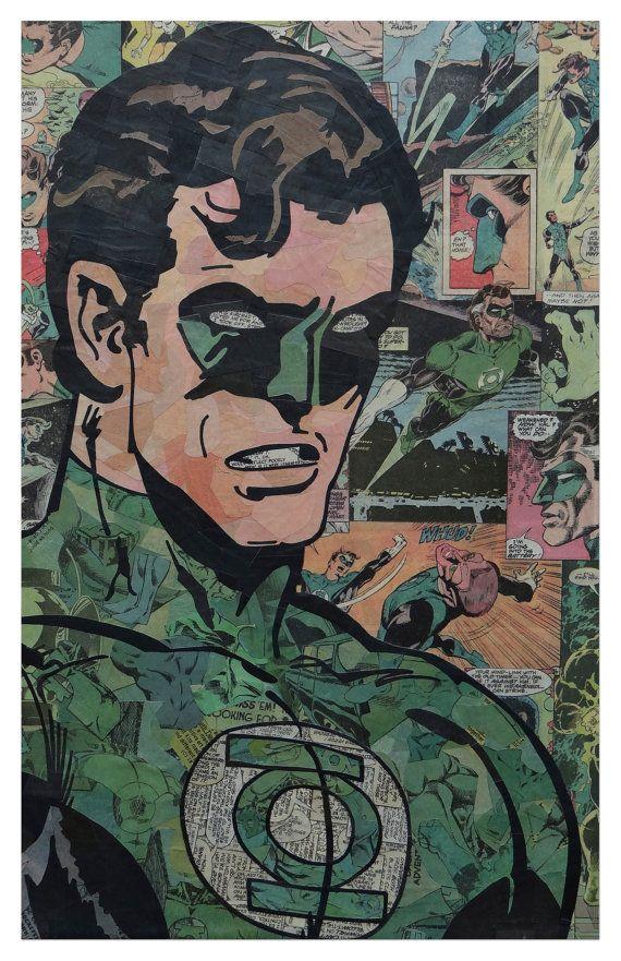 Green Lantern Print 11x17 by ComicCollageArt on Etsy