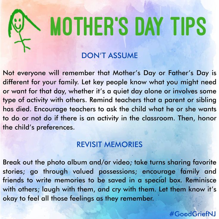 Mother's Day is coming up. For those who have lost a parent or a child, these holidays can be another painful reminder of who and what are missing in their lives. While it is hard to escape the reminders - the greeting cards, the department store displays, and the restaurant specials - it is possible to find a way to cope and thrive. This week, we'll post some tips for those who have lost and for the caring community around them. #mothersday #mom #mother #kids #family #grief #support
