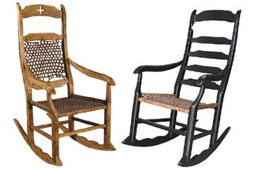 Métis style rocking chairs- The furniture and utensils in a typical Métis house were a mixture of both Native and European culture.  Most of their furniture was made out of wood: wooden trunks, round tables, beds (covered with buffalo furs)
