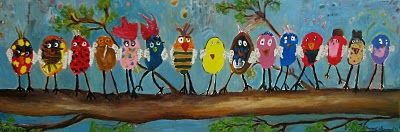 Teachers, parents, everyone loves this one!!!  Draw ovals across the canvas, each child paints within their oval, then come around it with color and the tree limb. It's fun, but hard work.  It's a wonderful kindergarten painting!!  :)  Teacher gift, auction item, etc...