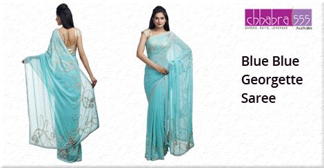 Buy Blue Blue ‪‎Georgette Saree‬ from ‪Chhabra555‬ @ $158.95 AUD in ‪Australia‬ and get ‪free shipping‬ for orders of $75 and more.