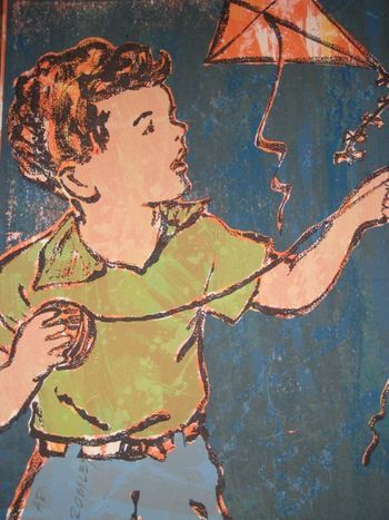 """""""Boy with Kite"""" by David Bromley. Screenprint. 76 x 56 cm. Available for purchase, check it out at www.smythgalleries.co.nz"""