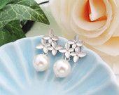 Boda joyería nupcial aretes de Dama de honor pendientes Destiny - oreja de plata flor plateado Matt postes con Swarovski perlas de cristal blanco