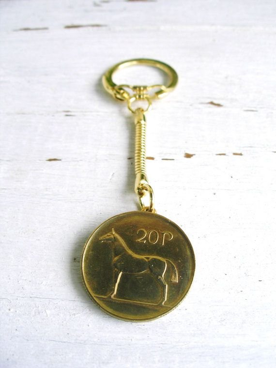 Authentic 1996 Golden IRISH 20 Pence Coin Key by BridgetFainne.