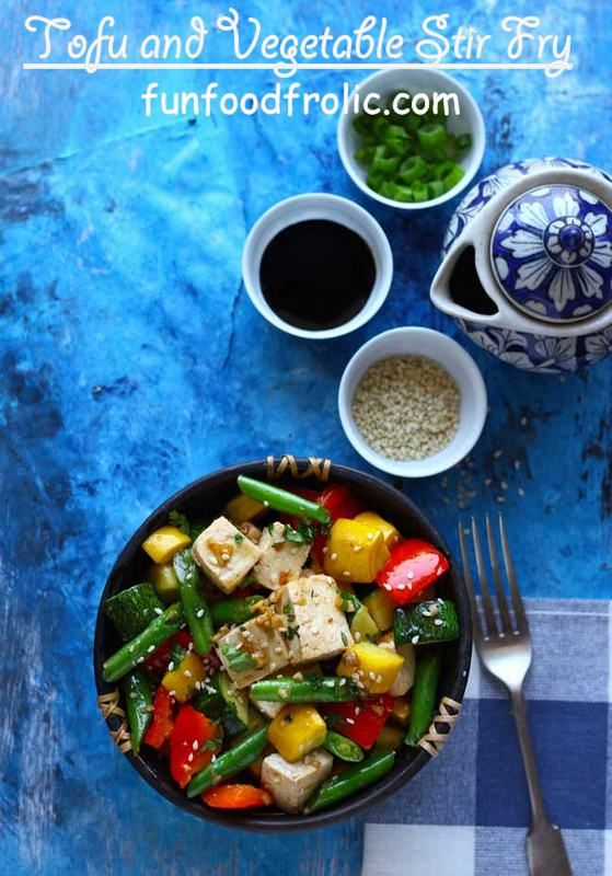 Tofu and Vegetable Stir Fry is packed with the health and goodness of colorful, seasonal vegetables – broccoli, beans, bell pepper, and squashes. funfoodfrolic.com