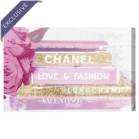 Bring feminine appeal to your master suite or walk-in closet with this chic canvas print, showcasing haute couture-inspired typography and a floral motif.