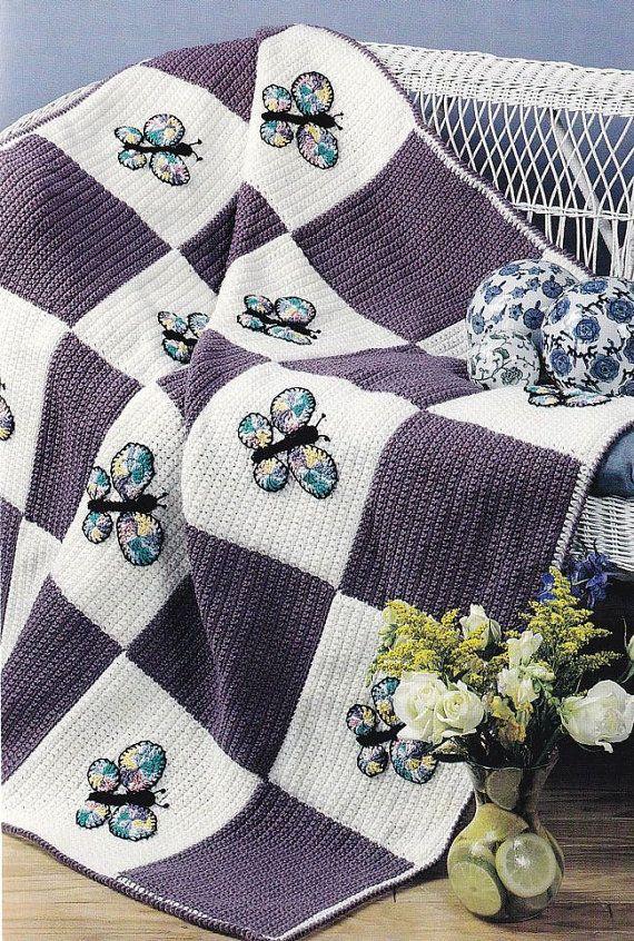 Butterfly Afghan Crochet Pattern,  Pretty