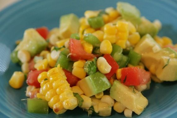Corn salad...grilled corn, tomato, pepper, avocado, and a lime-honey ...
