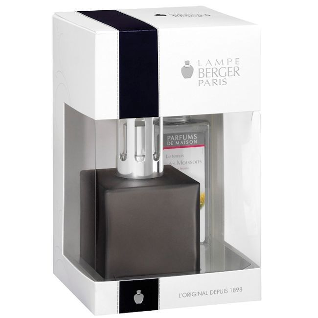 Encrier Cube Boxed Set Grey By Lampe Berger - Style of Life Simple and stylish cube lamp in a grey satin finish lacquer. Supplied with 180ml of Harvest Season.