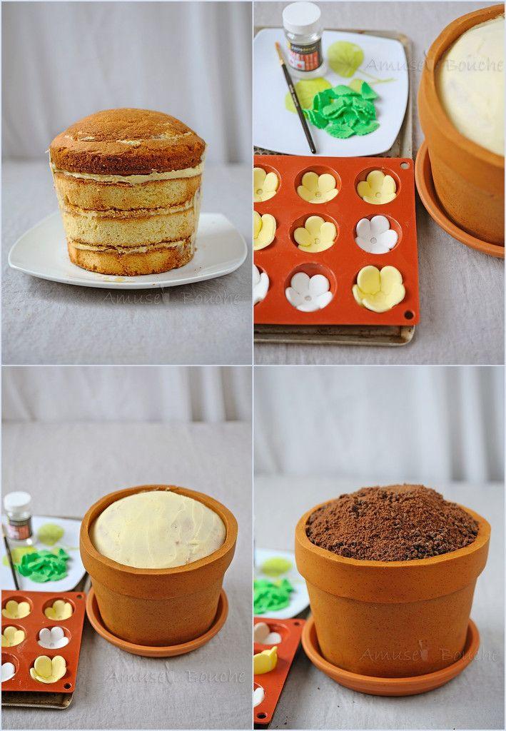 Gâteau pot de fleur                                                                                                                                                                                 Plus