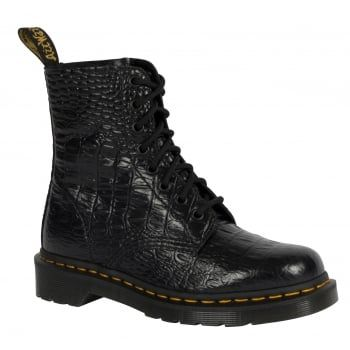 The Classic Pascal boot is reinvented this Season, featuring a rich black shiny leather upper embossed with a realistic crocodile print - making for a contemporary and fashion-forward style for the season. As well as Pascal Croco's bold mock-croc update, the traditional Dr Martens details are present including 8-eye lace fastening, air cushioned soles and classic branded heel loops.