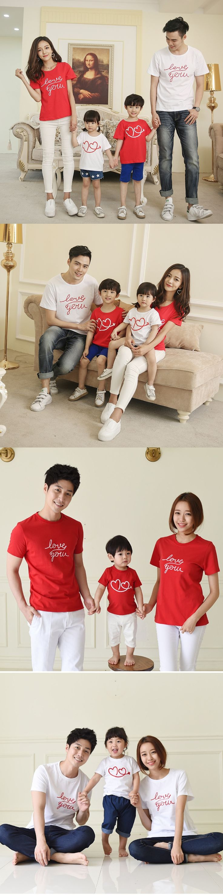 Matching Family Clothes Plus Size Love You Short-sleeve T-shirt for Family Father Mother Kids Shirts Clothes Couple T-shirt Gift
