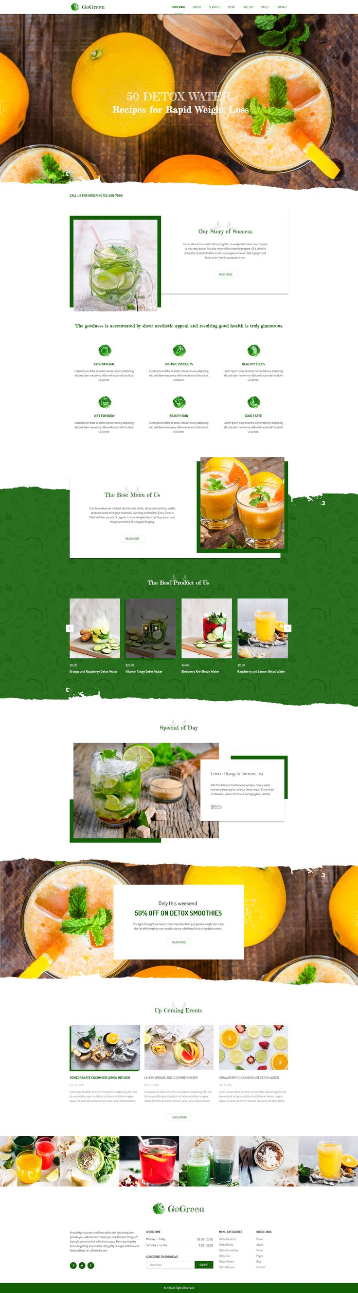 GoGreen Detox Water PSD Template #cafe #detox #detox water • Download ➝ https://themeforest.net/item/gogreen-detox-water-psd-template/19258509?ref=pxcr