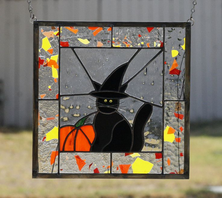 HALLOWEEN CAT-Stained Glass Halloween Window Decoration, 2016 Etsy Editors Pick, Stained Glass, Stain Glass, Black Cat, Witch, Ready to Ship by gallerydelsol on Etsy https://www.etsy.com/ca/listing/162327017/halloween-cat-stained-glass-halloween