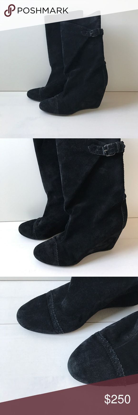 """BALENCIAGA 🌺 SALE was $250 Now $200 🌺 In great condition!! Signs of wear are on sole. A shoe repair person could make these perfect. Mid-calf height, suede wraps around calf and is buckled on side buckle is adjustable! Sweet suede pattern near toe, at buckle and down back of boot. Heel ht: 3 1/2"""". Made in Italy - Sz says 38 1/2, I am a 37 - 37 1/2 and they fit perfectly! Balenciaga Shoes Heeled Boots"""