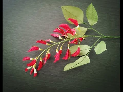 How To Make Ceibo Flower From Crepe Paper - Craft Tutorial - YouTube