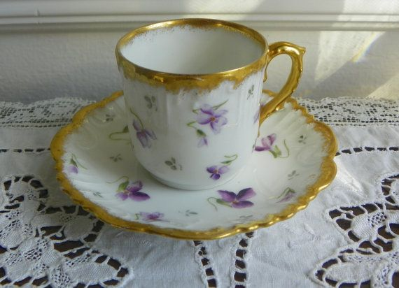Vintage French Demitasse Cup and Saucer Violets by LincolnsParlor, $15.00
